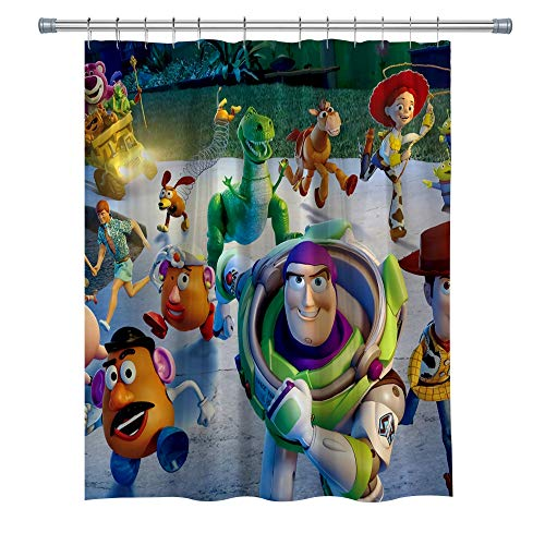GOODCARE Kids and Children's Cartoon Toy Story Shower Curtain for Bathroom, Machine Washable Waterproof Polyester Shower Curtains with Hooks, 71x71Inch