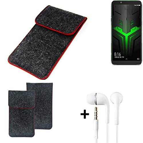 K-S-Trade Handy Schutz Hülle Für Xiaomi Blackshark Helo Schutzhülle Handyhülle Filztasche Pouch Tasche Hülle Sleeve Filzhülle Dunkelgrau Roter Rand + Kopfhörer