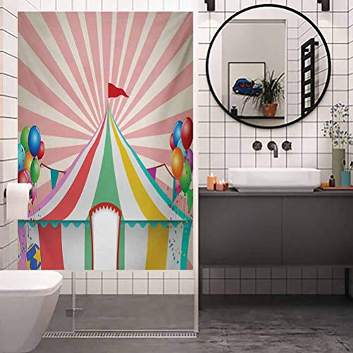 Home Office Film Non-Adhesive Window Stickers Glass, Circus Old Style Vintage Circus Tent with Balloons Carn, Home Bathroom Toilet Decorative, W35.4 x H78.7 Inch