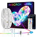 Inscrok Música Tiras LED 10m - Luces LED Habitacion con Remoto y Fuente de EU Alimentación - Tira LED para Decoracion Habitacion