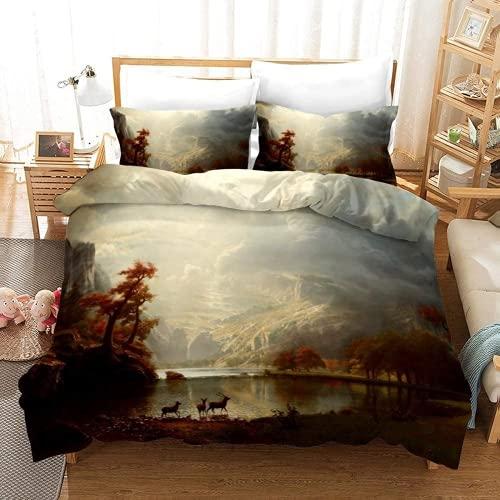 ZJJIAM Pinturas al óleo, abstractas en 3D, ropa de cama, casa del bosque, noche estrellada, Van Gogh, ropa de cama doble para niños, 135 x 200 cm + 2 x 50 x 75 cm