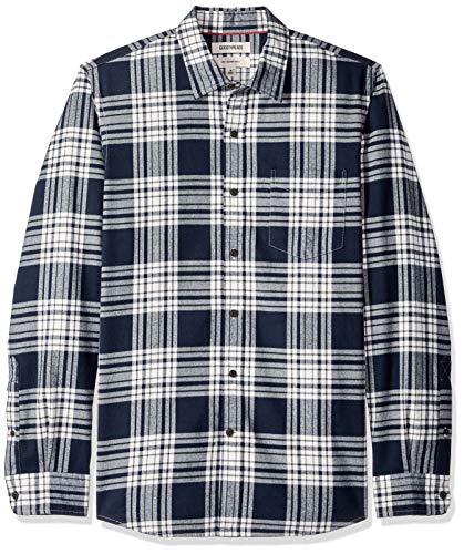 Marchio Amazon - Goodthreads, camicia in denim da uomo, vestibilità slim, a maniche lunghe, in flanella spazzolata, Blu (navy white plaid), US S (EU S)
