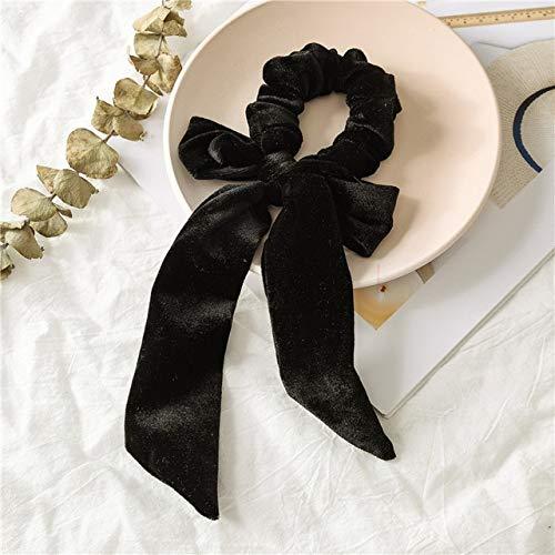 TSEINCE Fluwelen Lint Plissé Elastische Haarband Haarband Haaraccessoires Vrouwen Effen Kleur Grote Boog Meisje Haarband Boog Ornament
