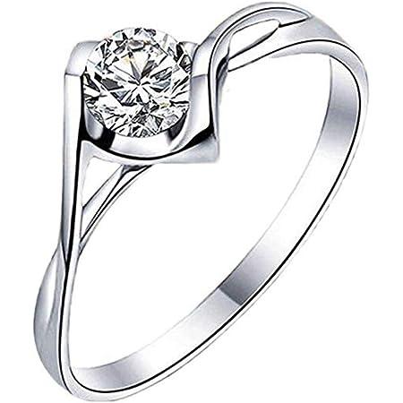 Scpink Intarsio zircone Anello della signora Bacio d'angelo cristallo Anello da sposa da donna Può essere regolato (Argento)