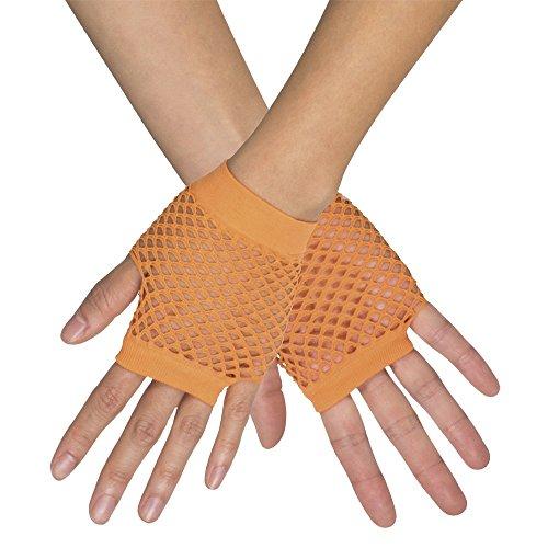 Kurze Fingerlose Netz Handschuhe New York - Neon Orange - Zubehör Party Fasching und Show Kostüme