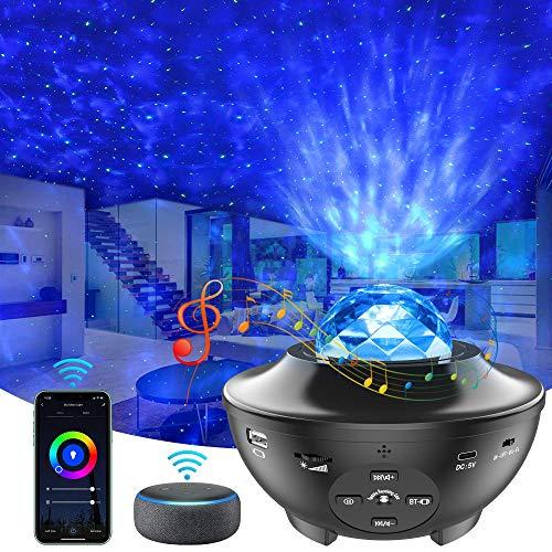 スマートスタープロジェクター プラネタリウム ベッドサイドランプ Bluetooth スピーカー Bluetooth5.0/USBメモリに対応 カラフル(1600万色+白色 ) タイマー機能付き 音声制御 音量/輝度調整可 投影ランプ ロマンチック雰囲気作り クリスマス/ハロウィン/パーテイー飾り/お子さん・彼女にプレゼント/誕生日ギフト 日本語説明書/リモコン付き
