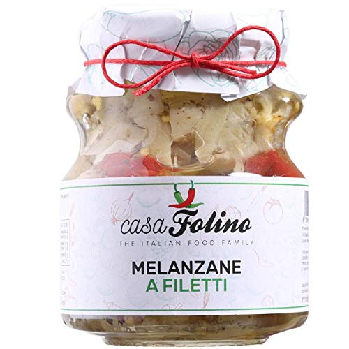 Melanzane a Filetto calabrese in vasetto 314 ML. Prodotto tipico calabrese dal sapore delicato e leggermente acetato. CasaFolino. Made in Italy
