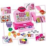 Spielzeugkasse mit Zubehör, Spielgeld Elektrische Kinder Spiel Kasse KP6188 Spielzeug Kinderkasse Spielgeld Scanner NEU PINK Kasse für Kaufmannsladen