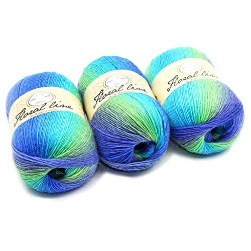 Hoxin Baby Stricken Wolle Garn Thread, Rainbow Farbverlauf Stil Kammgarn Garn für DIY Schal Pullover (1 Stück) (11)