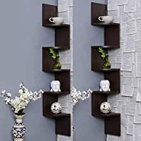 Acco & Deco Zig Zag Floating Corner Shelves 5 Tier Wall Mounted Storage Shelf with White Finish for Bedroom, Living...