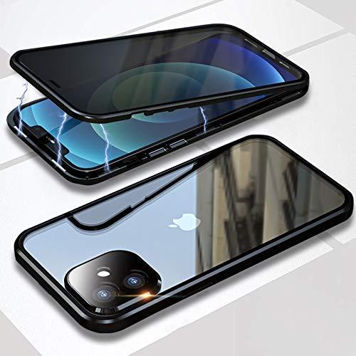 WEYNR - Custodia magnetica per iPhone 13 Pro Max 5G, sottile cornice in metallo a 360°, in vetro temperato, con lente per fotocamera, resistente agli urti, colore: Argento
