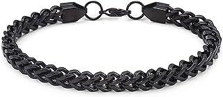 "Jarrix Steel Mens Stainless Steel 6MM Franco Chain Bracelet for Larger Size Wrist 9"""