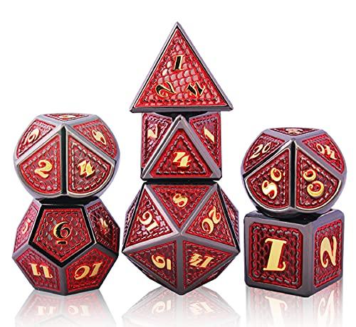 Schleuder Dadi D&D Set Metallo Dice DND, Poliedrici Dadi per Dungeons & Dragons Gioco da Tavolo, Rpg MTG Lega Zinco Dadi da Gioco di Ruolo, Insegnamento della Matematica (Golden And Red)