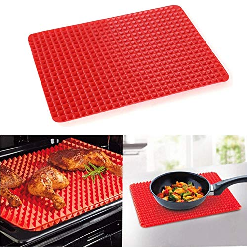 Fewear Pyramid Pan Silicone Non Stick Fat Reducing Mat Microwave Oven Baking Tray Tool Silicone Barbecue Pad