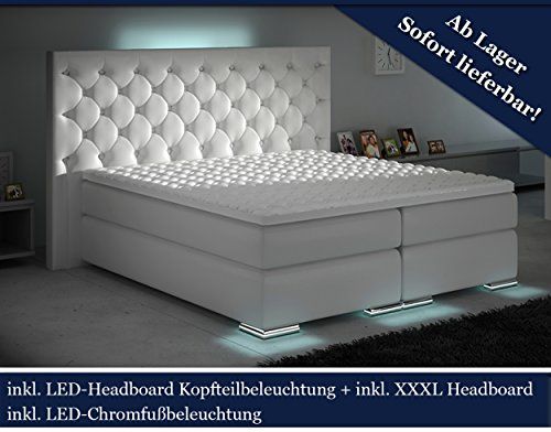 HG Royal XXXL Boxspringbett Designer Boxspring Bett LED Chesterfield (Weiß, 200x200)
