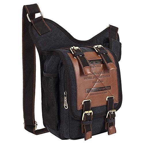 KK Timo WARM Home Convenient Retro Style Men Canvas Crossbody Bag Messenger Bag Outdoors Hiking Camping Bag, Size: 26 X 21 X 9 Cm Vacation (Color : Black)