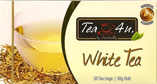 Tea4U Pure White Tea - Natural & Original Ceylon Tea with Rich Antioxidants - Unique Quality with No Additives and Flavorings | 25 Bags