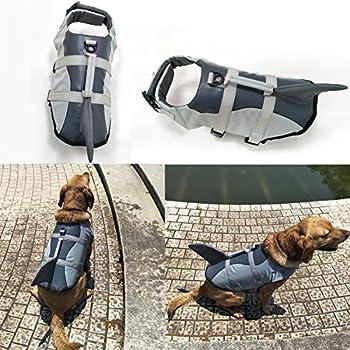 Vohoney Gilet de sauvetage pour chien avec poignée de sauvetage et de sauvetage (M, gris)