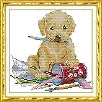 刺繡スターターキット刻印クロスステッチキット初心者犬の絵付け綿DIY11CT刺繡簡単面白いプレプリントパターン16x20インチ