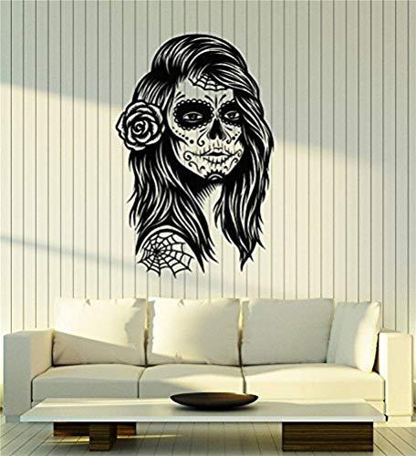 wandaufkleber kinderzimmer leuchtend Vinyl Wandtattoo Calavera Schädel Mädchen Frau Mexiko mexikanische Kunst Tag der Toten Aufkleber Wandbild große Dekor