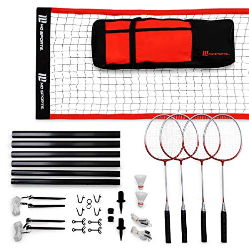 MD Sports Advanced Badminton Set with Heavy Duty Carry Bag, Includes 4 Rackets and 2 Shuttlecock, Easy Set Up and Transportation, Lawn Game