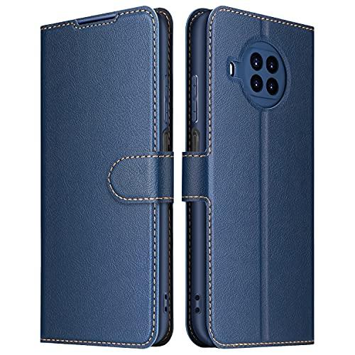 ELESNOW Hülle für Xiaomi Mi 10T Lite 5G, Premium Leder Klappbar Wallet Schutzhülle Tasche Handyhülle mit [Magnetisch, Kartenfach, Standfunktion] für Xiaomi Mi 10T Lite 5G (Blau)