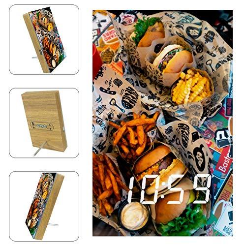 TIZORAX Alarm Klokken Rundvlees Burger Fries LED Digitale Klokken voor Office Keuken Woonkamer Desktop met USB Opladen