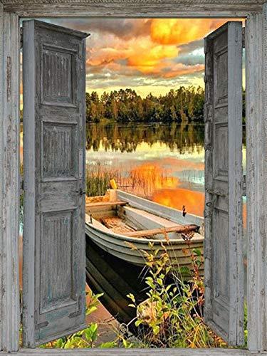 Paisaje junto al mar 5D DIY diamante bordado puerta puesta de sol mosaico decoración del hogar pintura de diamantes A11 60x80cm