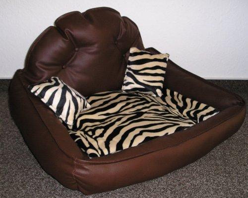 Premium Line Prestige Lounge Panier canapé en similicuir pour chien Brun/motif zébré