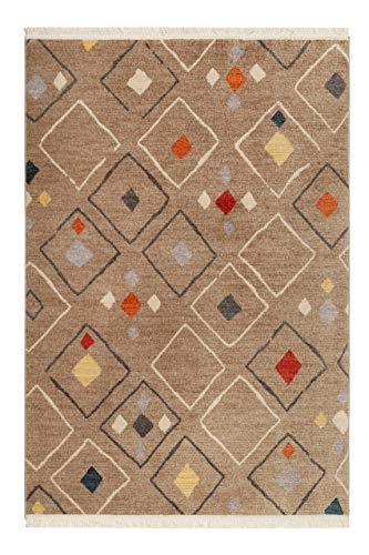 Montreal, Moderner Kurzflor Teppich - Läufer für Wohnzimmer, Flur, Schlafzimmer, Mont Royal (80 x 150 cm, Sand braun bunt)