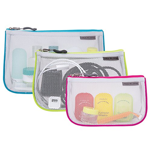 Travelon Set of 3 Assorted Piped Pouches, Brights, One Size