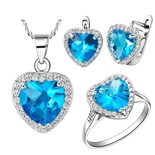 KnSam Collar Plata Mujer, Conjunto de Collar Pendientes y Pulsera, Corazón Azul Cristal Juego de Joyas Tamaño 12