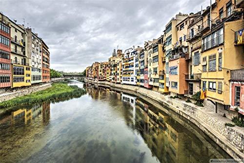 1000 piezas El rompecabezas de madera, rompecabezas, juguetes educativos para niños adultos, decoración, regalo,River Onyar Girona Catalonia 75x50cm