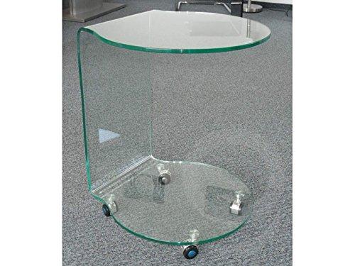 Concept Glas (86) Glastisch Rollentisch Beistelltisch mit 2 Ablageflächen halbrund auf Rollen Sale