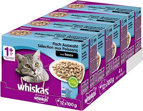 Whiskas 1 + Katzenfutter – Fisch-Auswahl in Sauce – Hochwertiges Nassfutter mit vielen Vitaminen – 48 Portionsbeutel à 100g