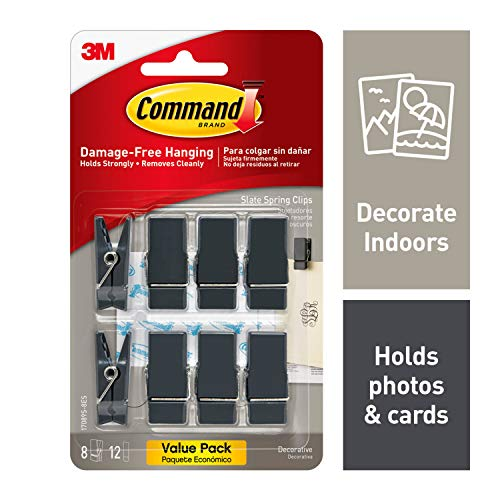 Command Spring Clips, 8 clips, Decorate Damage-Free (17089S-8ES),Slate