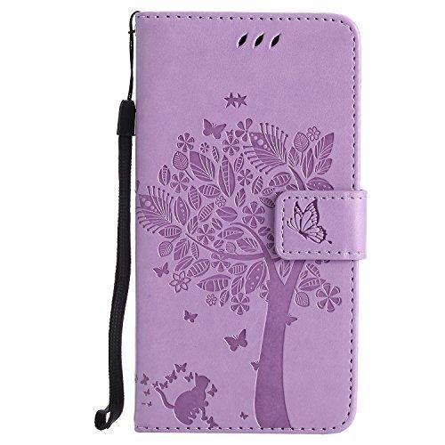 ViViKaya Custodia per Huawei P9 Lite, Pelle Flip Libro Portafoglio Protezione Custodia in TPU Cover Protettiva per Huawei P9 Lite [Lavanda]