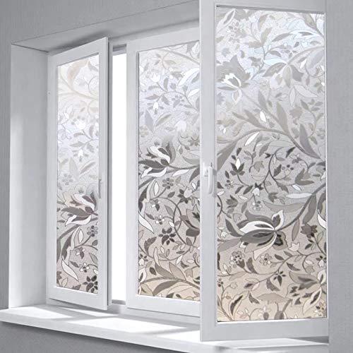 LMKJ 3D Privatsphäre Fensterfolie Tulpe Blume mattierte Dekoration Selbstklebende Folie Glasaufkleber opake Färbung für Schlafzimmer Büro Glasdekoration Folie A74 50x200cm