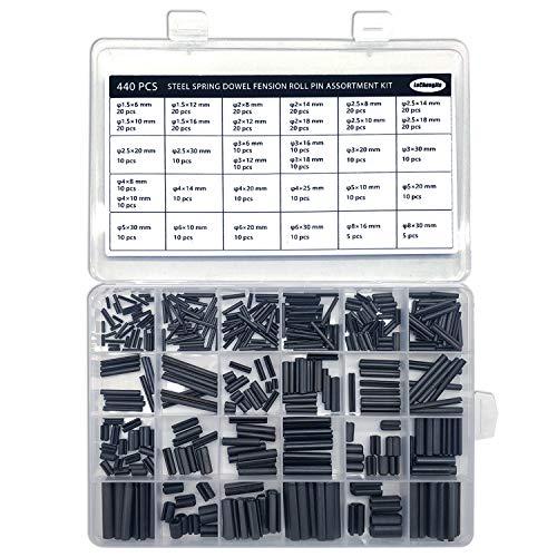 440 Stück Schlitz-Federstifte Rollstifte Sortiment Set Stahl Split Federdübel Spannstifte Metall Hardware Sortiment Kit Hohlfederstifte gemischte Größen M1.5 M2 M2.5 M3 M4 M5 M6 M8 schwarz mit Box