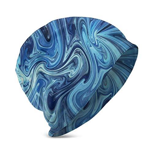 Lawenp Gorro de Punto para beb, diseo de Arte Abstracto Azul, Gorros Suaves y clidos para nios, nias de 3 a 10 aos