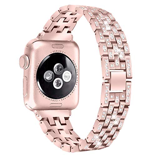 Aottom Compatible for Apple Watch Strap 40mm Series 5 4 Women Metal Diamond Rhinestone Crystal Jewelry Sport Wristband Bracelet Replacement Strap for 40mm 38mm iWatch Strap Series 5/4/3/2/1, Rose Pink