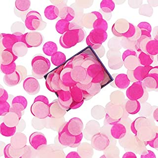 Battife 1 Inch Round Pink Confetti 5000 Pieces Biodegradable Tissue Paper Table Confetti Dots for Gender Reveal Balloon Wedding Party Suppliers Decorations,1.8oz