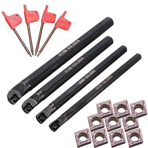 KKmoon 4 Pz 7/8/10 / 12mm S07K / S08K / S10K / S12M-SCLCR06 Tornio CNC Bareno Tornitura Portautensili + 10 Pz CCMT060204 Inserti + 4 Pz Chiavi