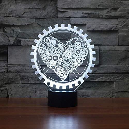 Veilleuse Night Light Steam Punk Style de 3D Night Light Vitesse Love Heart Lampe d'éclairage LED USB Décor de Chevet Enfants