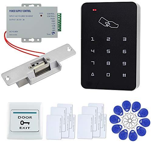 FTSTech Kit de Seguridad para el Hogar con Control de Acceso de Puerta RFID con Teclado Independiente de 125KHz+Cerradura Eléctrica+Fuente de AlimentaciónKit de Cerradura Eléctrica NC)