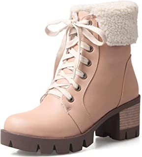 Women's Flat Platform Snow Boots Lace Up Stacked Heel Winter Warm Ankle Boots