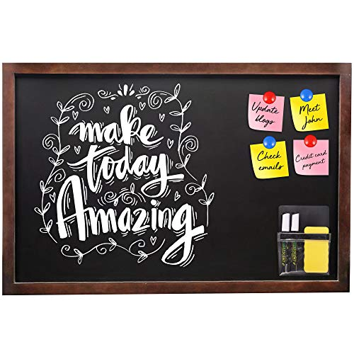 Magnetic Chalkboard Sign Blackboard Bulletin Board 24x36 Large Vintage Rustic Finish Wall Mounted Pine Wood Frame Non-Porous with Magnetic Pouch Liquid Chalk Markers Magnetic Eraser Planning Magnets