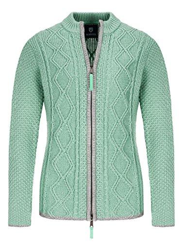 Almbock Strickjacke - Hochwertige Strickjacke Reißverschluss Damen - Trachtenstrickjacke Damen Grün aus feiner Wolle in Grün Gr. S