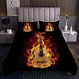 Cool Guitar Coverlet Set de Colcha de Guitarra,Instrumentos de Guitarra,Colcha Acolchada niños niñas,de habitación Ligera Acolchada Color Negro Fuego Individual 1 Funda de Almohada
