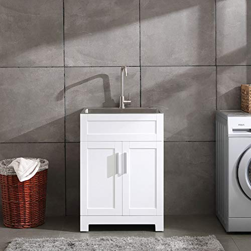 """24"""" White Laundry Utility Cabinet w/ Stainless Steel Sink and Faucet Combo"""